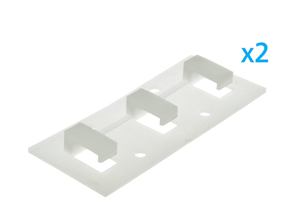 2 PZ Clip Fissaggio Rigido Lineare Con 3 Posizione Fermi Passo 14X7 mm Per Fissare Bobina Striscia Led Impermeabile A Muro Parete - BUSTA