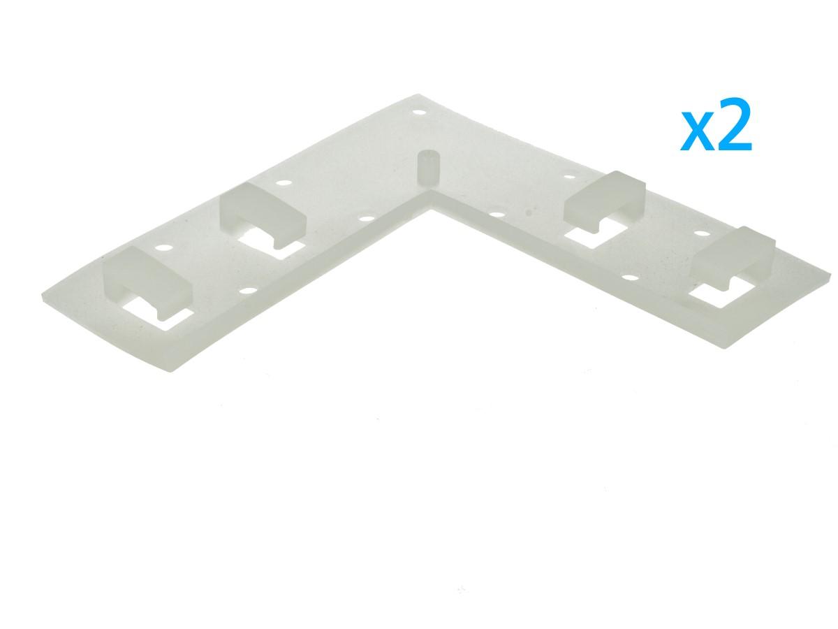 2 PZ Clip Fissaggio Rigido Curva Con 4 Posizione Fermi Passo 14X7 mm Per Fissare Bobina Striscia Led Impermeabile In Angolo Muro Parete - BUSTA