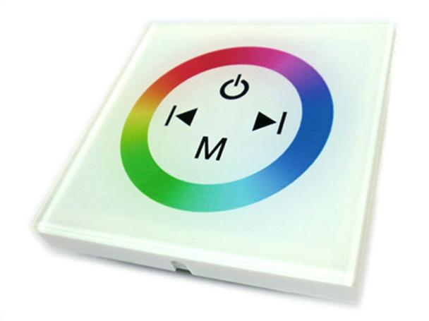 Centralina RGB Led Kit Controller Touch Panel Full Color Da Incasso Quadrata 12V 144W Sfondo Bianco TM08 - KIT