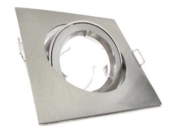 Porta Faretto Led GU10 MR16 Orientabile Quadrato Con Ghiera Satinato - KIT
