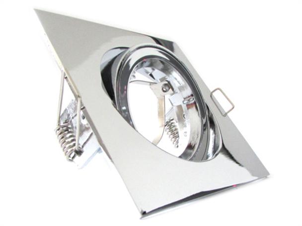 Porta Faretto Led GU10 MR16 Orientabile Quadrato Con Ghiera Cromato - KIT