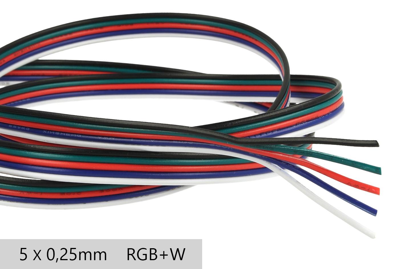 Cavo Filo Elettrico Penta Polare 5 X 0,25 mmq Per Striscia Led RGBW RGB+W 1 Metro - Metro