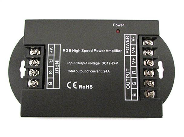 Amplificatore Segnale PWM Alta Velocita Per Striscia Led RGB e Mono Colore 12V 24V 3X8A AP100 - KIT