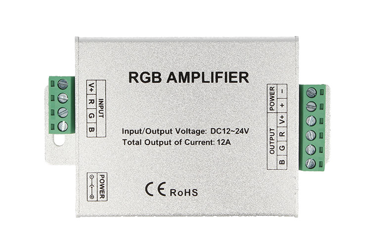 Amplificatore RGB e Mono Colore Per Striscia Bobina Led 12V 24V 12A RGB Amplifier PWM LN-ZJFJ-3CH-LV - KIT