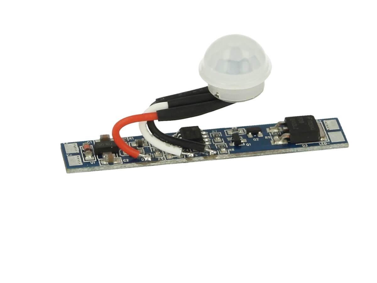 Sensore Di Movimento PIR 12V 24V 8A Ritardo 40 Secondi Con Accensione Spegnimento Luminosita Graduale Per Profilato Alluminio - KIT