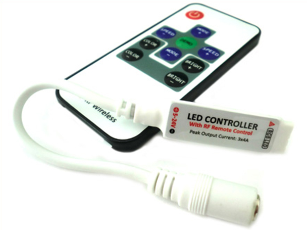 Mini Controller Bobina Led RGB Con Telecomando Wireless 12V 24V 6A Fino A 40 Metri RF103 - KIT