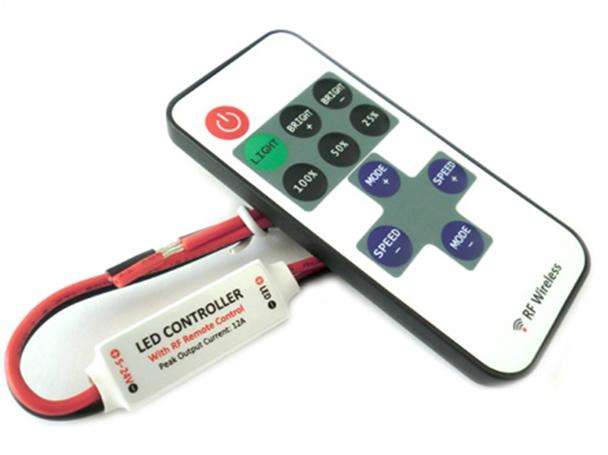 Mini Controller Bobina Led Mono Colore Dimmer Con Telecomando Wireless 12V 24V 72W RF101 - KIT