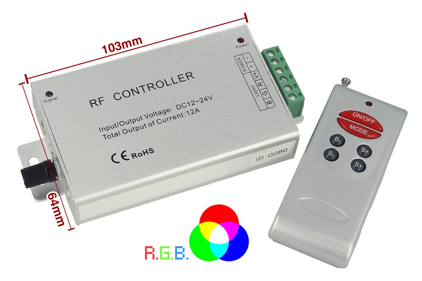 Centralina RF Audio Controller Strip Led RGB Cambio Colore A Ritmo Di Musica DC5V 12V 24V Frequenza 433MHz Telecomando Incluso - KIT