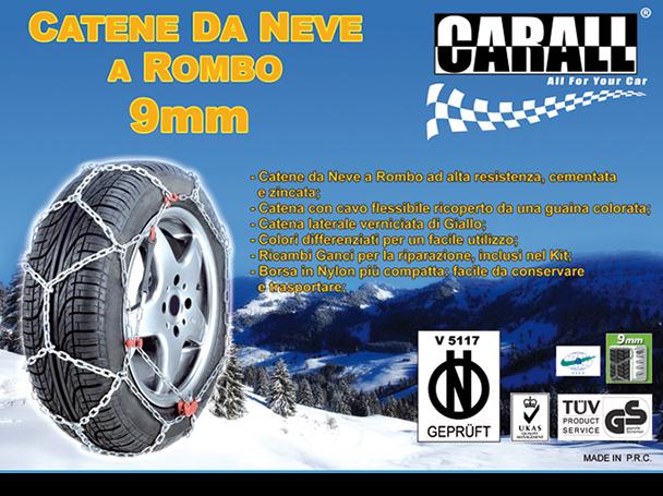 Catena Da Neve A Rombo Per Auto 9mm Gruppo 50 CARALL Omologato ONORM V 5117 - KIT