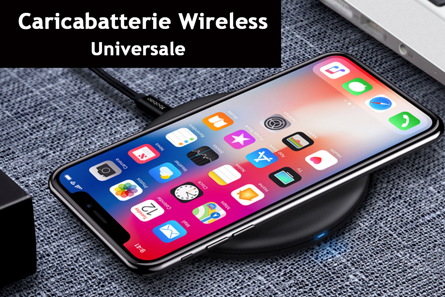 Caricabatterie Wireless Veloce Black 10W Slim QI per iPhone 8 iPhone 8plus iPhone X iPhone XL Samsung S6 S6 edge Note 5 LG G3 G5 G6 Nokia Lumia830 Lumia920 Lumia1020 Lumia1520 Google Nexus4 Nexus5 Nexus6 Huawei Mate RS - PZ