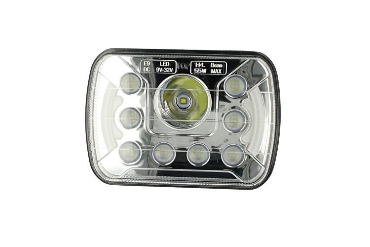 Faro led truck headlight rettangolare 7 pollici 55w 12v 24v per