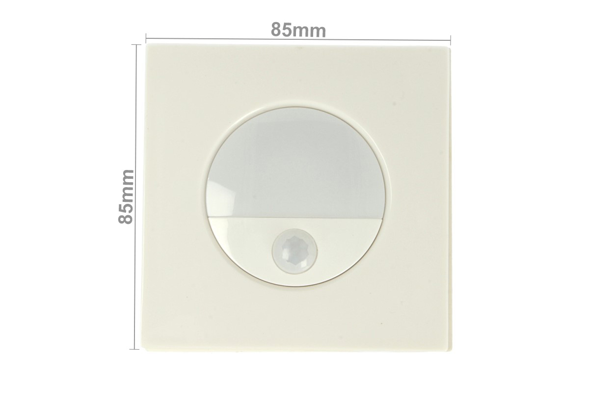 Luce Segnapasso Con Sensore.Faretto Luci Led Segnapasso Con Sensore Movimento 3w Bianco Neutro Quadrato Scatola Incasso 86x86 Da Muro Incluso Sku 5570
