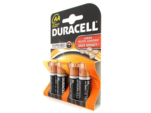 Pila Batteria Duracell Alkaline LR6 MN1500 Tipo Stilo AA 1,5V Confezione Da 4 Pi