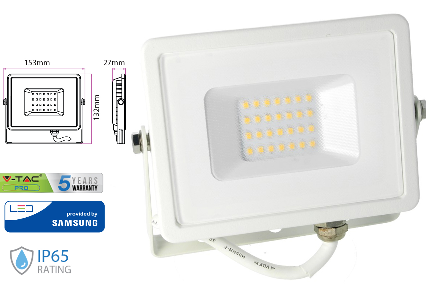 Faro Led Flood Light 20W IP65 Bianco Caldo Super Slim Chip Samsung Garanzia 5 Anni SKU-442 - KIT