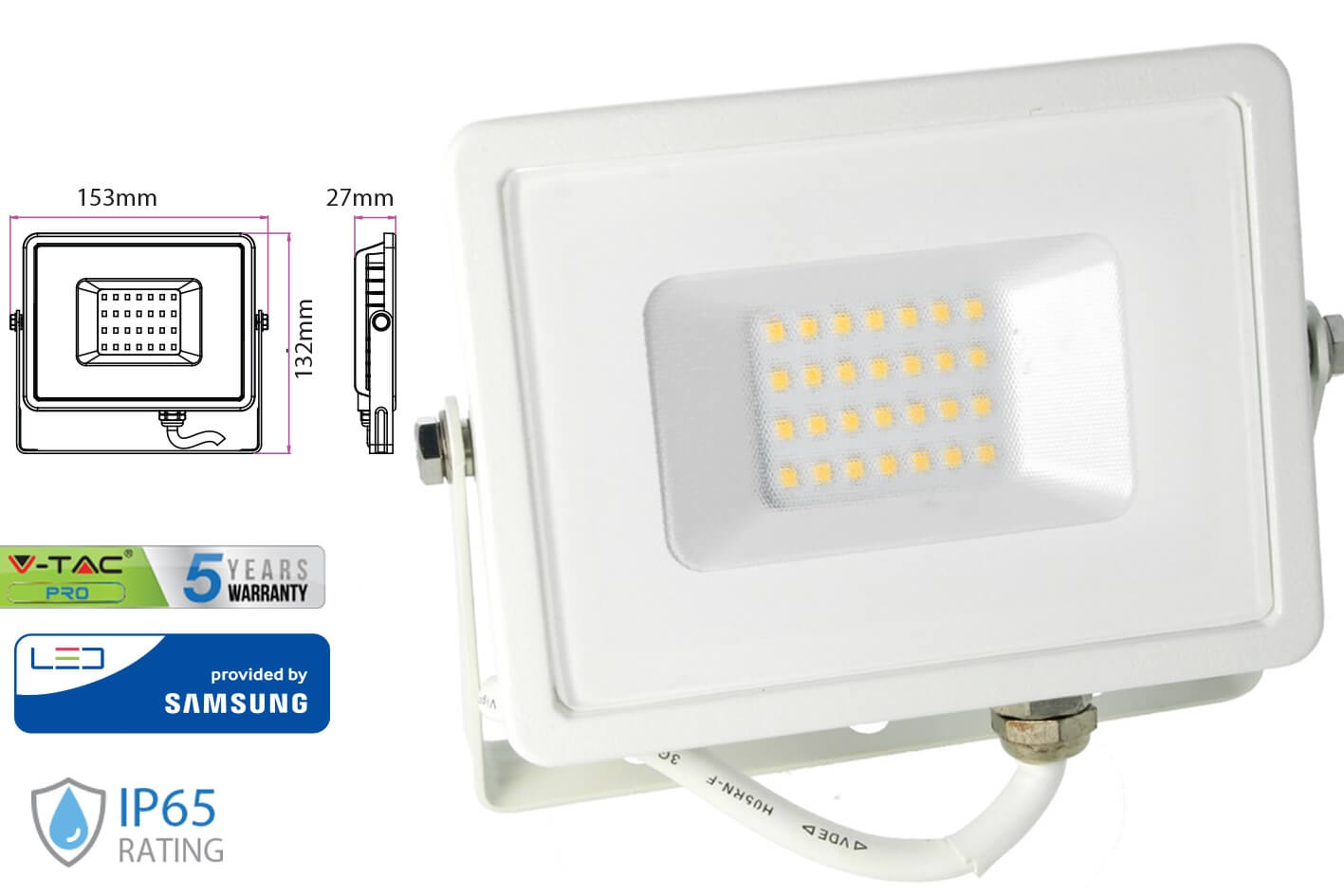 Faro Led Flood Light 20W IP65 Bianco Neutro Super Slim Chip Samsung Garanzia 5 Anni SKU-443 - KIT