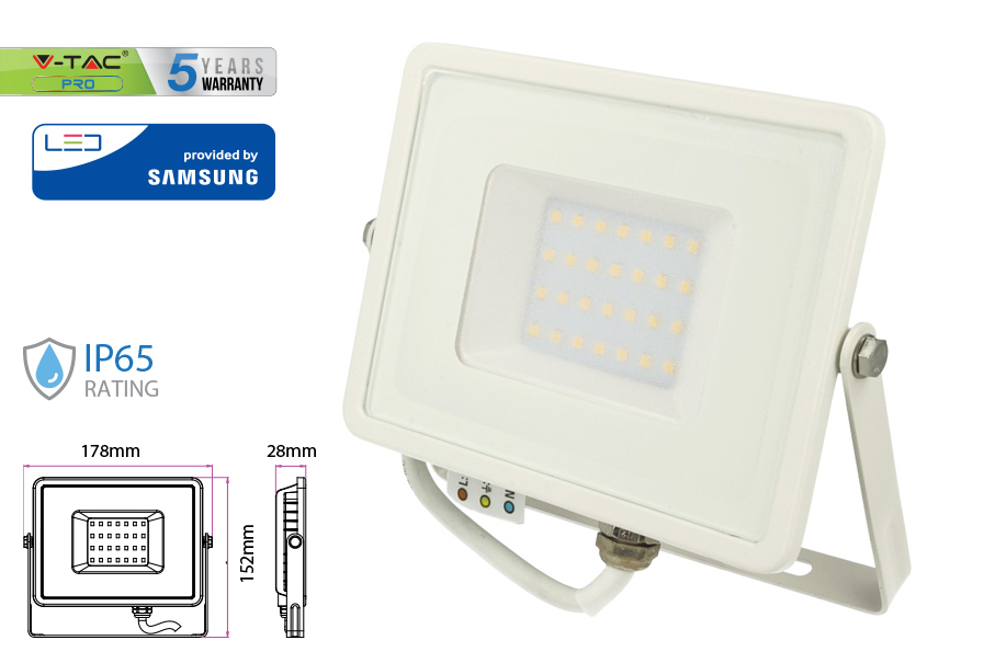 Faro Led Flood Light 30W IP65 Bianco Caldo Super Slim Carcassa Bianca Chip Samsung Garanzia 5 Anni SKU-403 - KIT