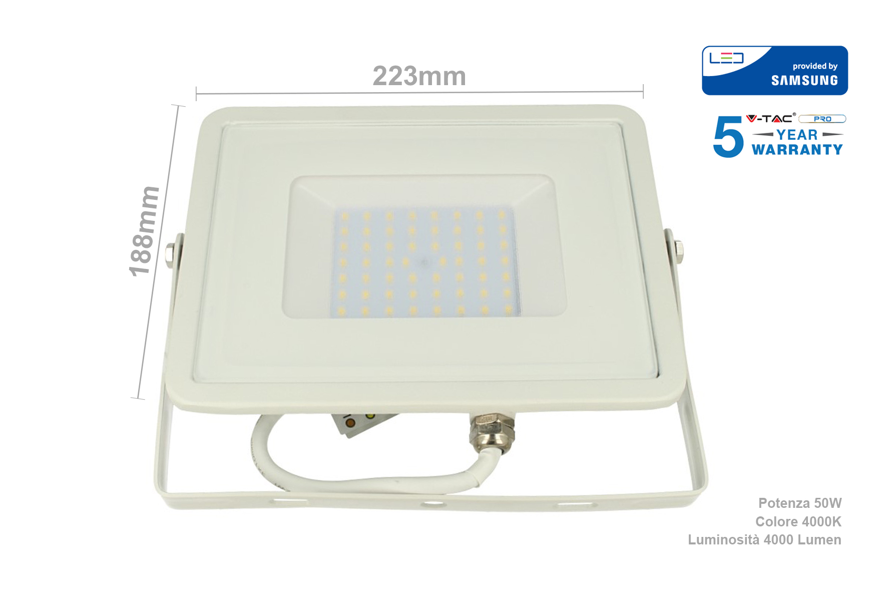 Faro Led Flood Light 50W IP65 Bianco Neutro Super Slim 28mm Carcassa Bianca Samsung Garanzia 5 Anni SKU-410 - KIT