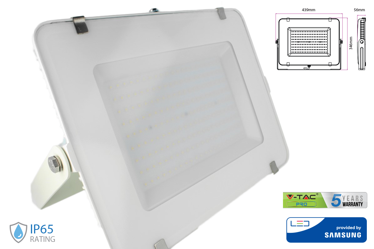 Faro Led Flood Light 200W IP65 Bianco Neutro Super Slim 56mm Carcassa Bianca Samsung Garanzia 5 Anni SKU-420 - KIT