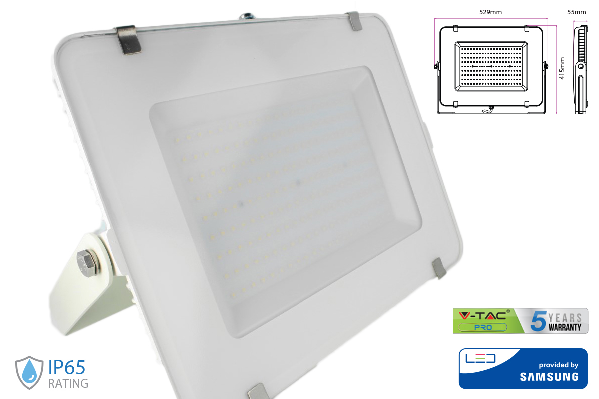 Faro Led Flood Light 300W IP65 Bianco Neutro Super Slim 55mm Carcassa Bianca Samsung Garanzia 5 Anni SKU-486 - KIT