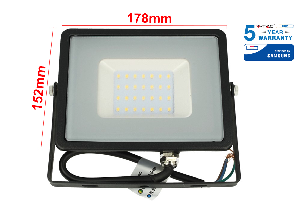 Faro Led Flood Light 30W IP65 Bianco Naturale Super Slim Carcassa Nera Smd Samsung Garanzia 5 Anni SKU-401 - KIT