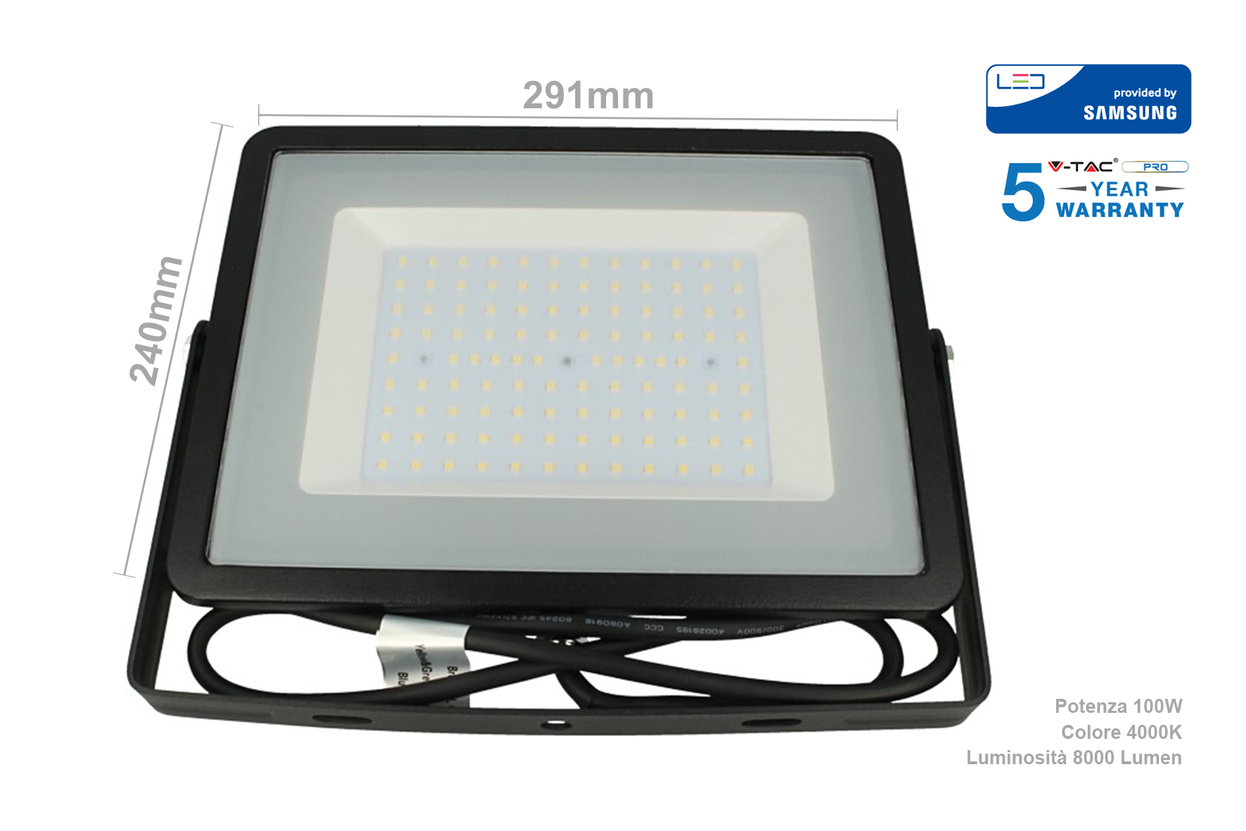Faro Led Flood Light 100W IP65 Bianco Neutro Super Slim 30mm Carcassa Nera Samsung Garanzia 5 Anni SKU-413 - KIT