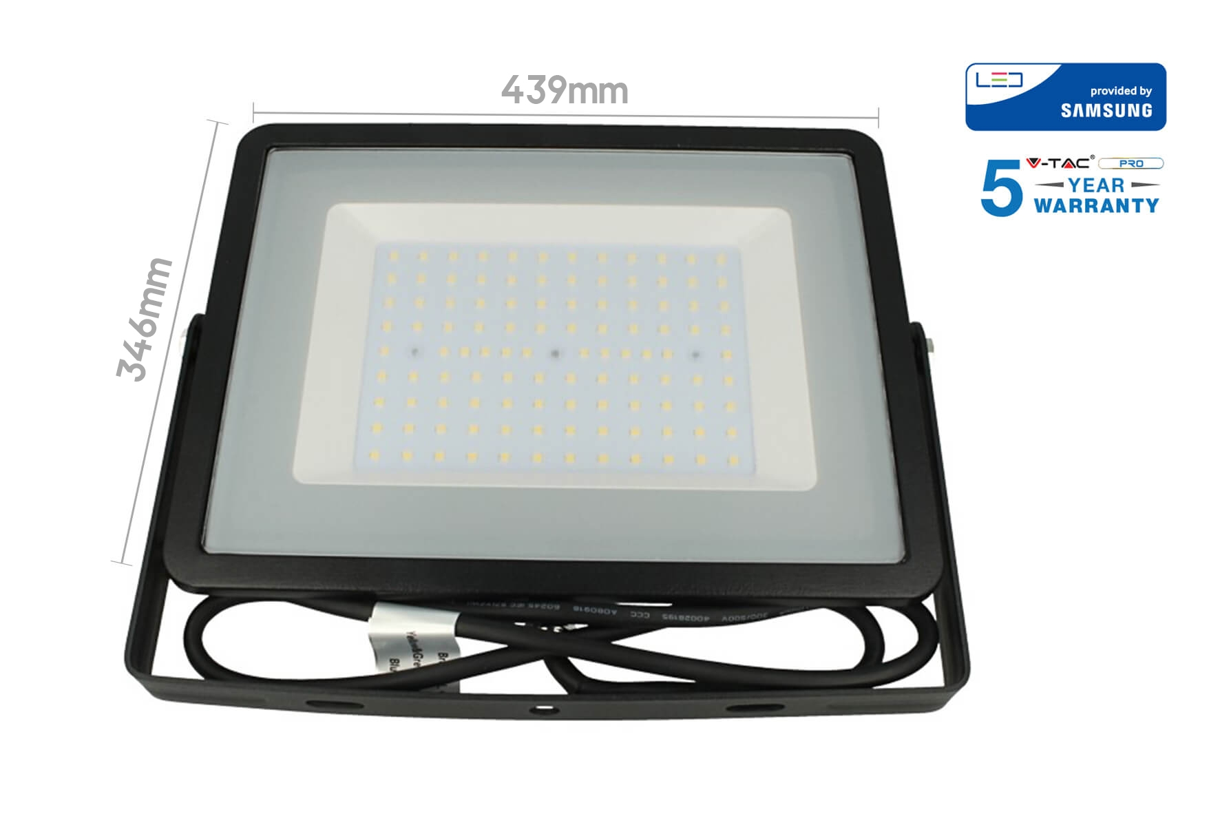 Faro Led Flood Light 200W IP65 Bianco Neutro Super Slim 56mm Carcassa Nera Samsung Garanzia 5 Anni SKU-418 - KIT