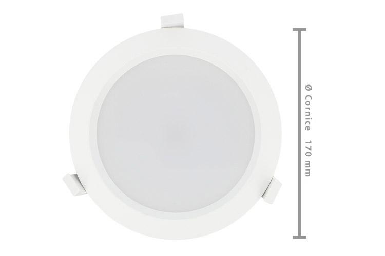 Lampada Faro Led Incasso Da Soffitto 25W Bianco Neutro Rotondo Per Negozio Diametro 170mm IP44 - PZ