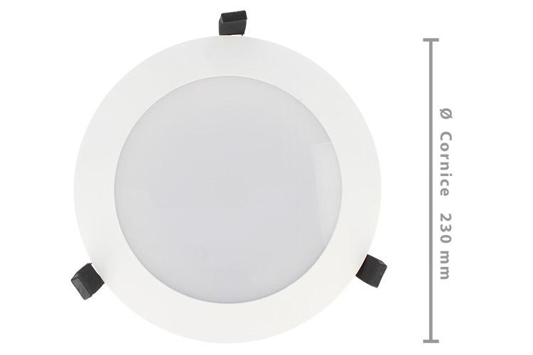 Lampada Faro Led Incasso Da Soffitto 38W Bianco Caldo Rotondo Per Negozio Diametro 230mm IP44 - PZ