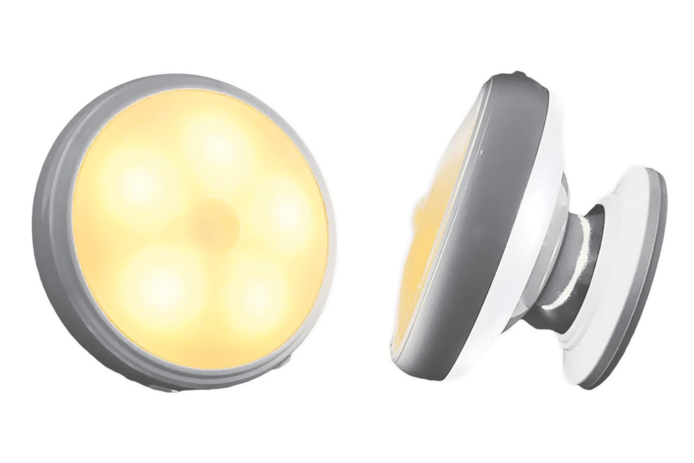 Faretto Led Luce Notturna Bianco Caldo Sensore di Movimento Calamitato Snodabile Rimovibile Ricaricabile USB Batteria Litio 450mAh Per Scala Corridoio Mansarda Garage Armadio - PZ