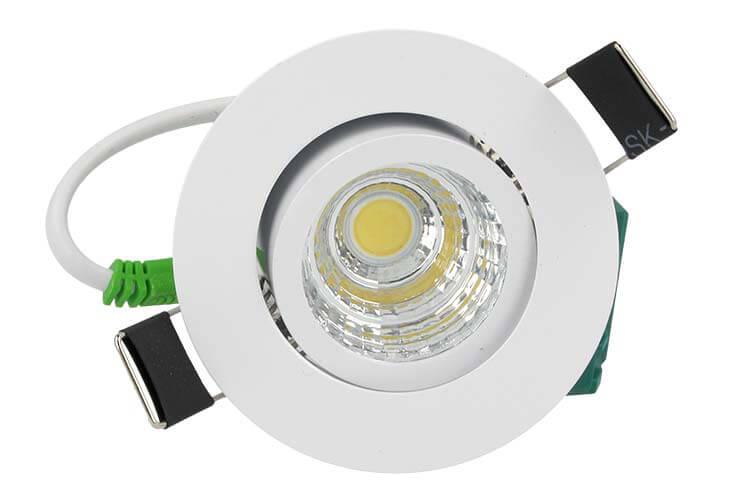 Lampada Faretto Led Da Incasso 5W Cob 220V Bianco Caldo Rotondo Foro 50mm Orientabile - PZ