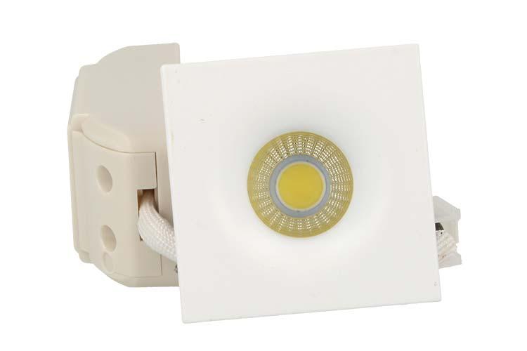 Mini Faretto Led Da Incasso Quadrato 3W Bianco Caldo 38 Gradi - PZ