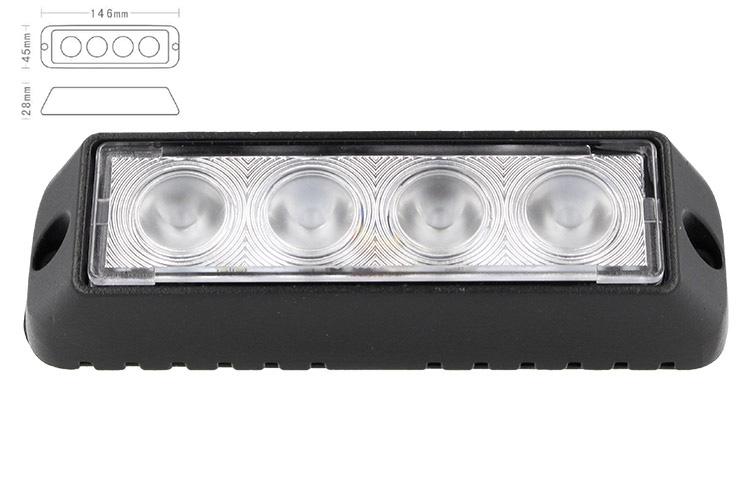 Fanale Luci Diurne A Led DRL Work Light Faro Da Lavoro 12V 24V 12W (4X3W) IP67 Bianco - PZ