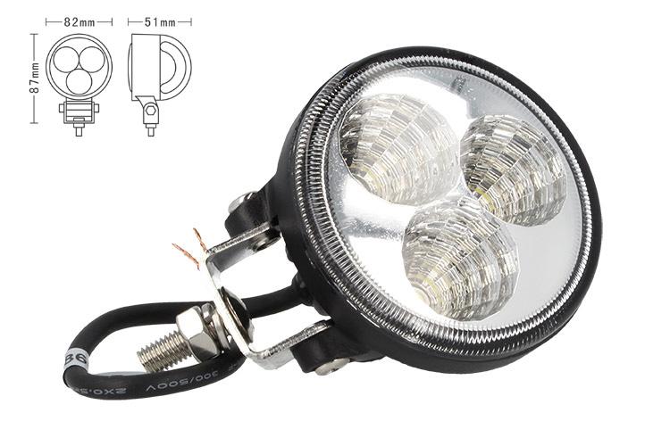 Fanale Rotondo Luci Diurne A Led Work Light Faro Da Lavoro 12V 24V 9W (3X3W) IP67 Bianco - PZ