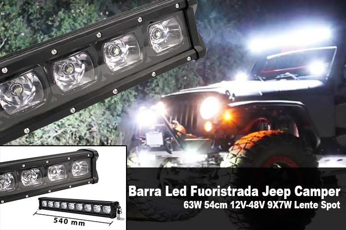 Barra Led Fuoristrada Work Light Bar 63W 54cm 12V-48V 9X7W Lente Spot - PZ