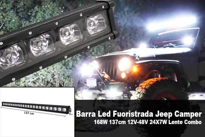 Barra Led Fuoristrada Work Light Bar 168W 137cm 12V-48V 24X7W Lente Combo - PZ