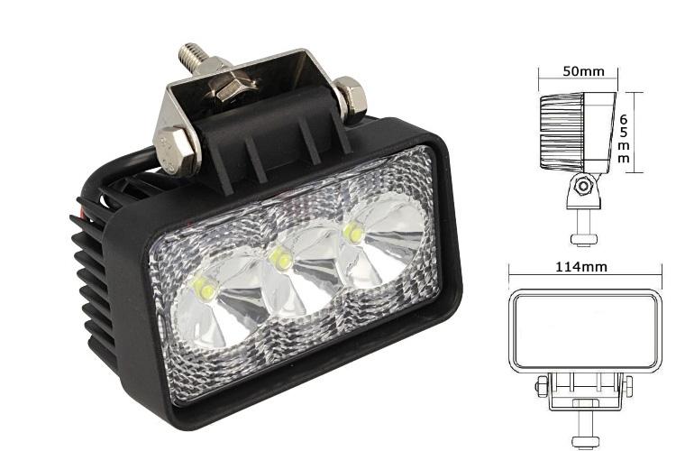 Fanale Rettangolare Luci Diurne A Led Work Light Faro Da Lavoro 12V 24V 9W (3X3W) IP67 Bianco - PZ
