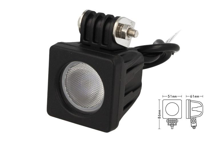 Fanale Quadrato Luci Diurne A Led Work Light Faro Da Lavoro 12V 24V Cob 10W Cree IP67 Bianco - PZ