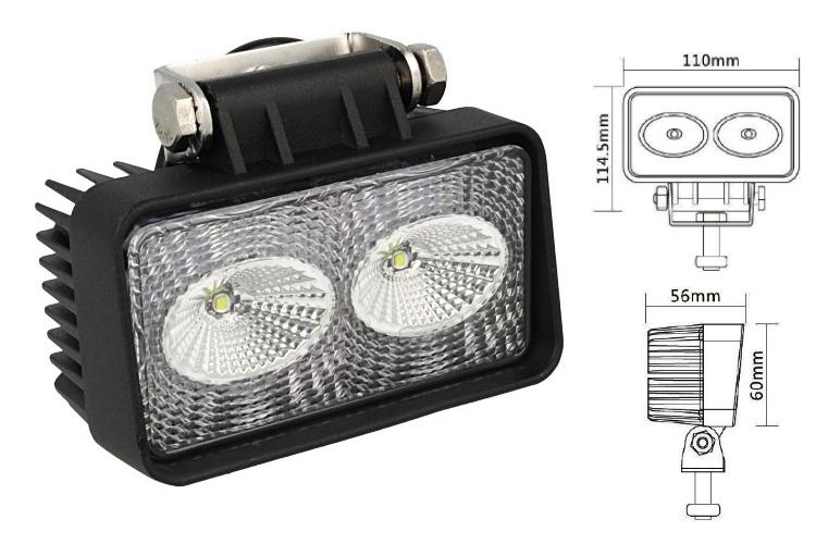 Fanale Rettangolare Luci Diurne A Led DRL Work Light Faro Da Lavoro 12V 24V 20W (2X10W) Cree IP67 Bianco - PZ