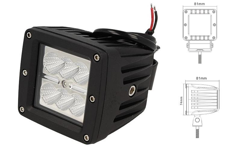 Fanale Luci Diurne A Led DRL Work Light Faro Da Lavoro Quadrato 12V 24V 24W (6X4W) IP67 Bianco - PZ