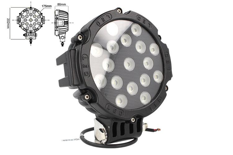 Faro Led Supplementare Profondita 12V 24V 51W Rotondo Super Luminoso Luce Beam - PZ