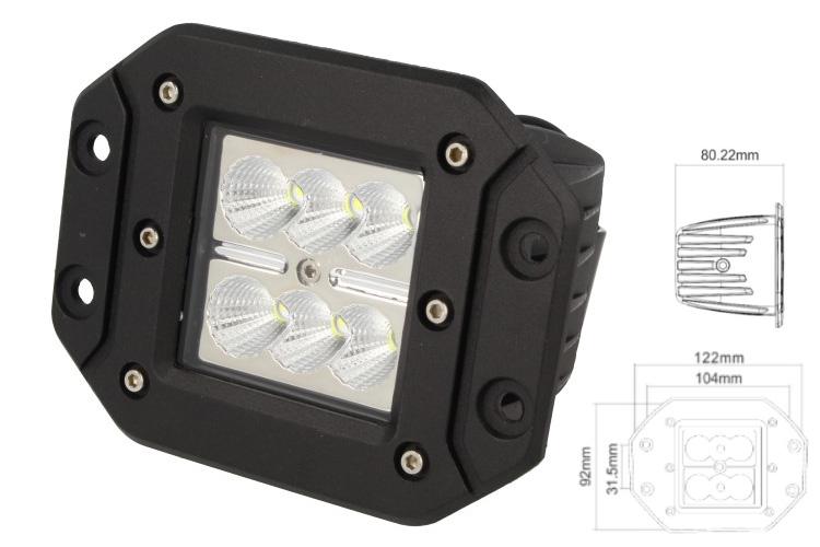 Fanale Luci Diurne A Led DRL Work Light Faro Da Lavoro Rettangolare 12V 24V 24W (6X4W) IP67 Bianco - PZ