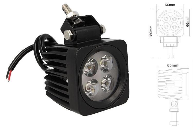 Fanale Quadrato Luci Diurne A Led Work Light Faro Da Lavoro 12V 24V 12W (4X3W) IP67 Bianco - PZ