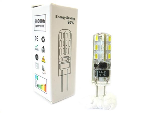Lampada LED Bispina G4 Con Silicone 24 SMD 3014 DC/AC 12V Bianco Caldo Senza Cambiare Trasformatore - PZ