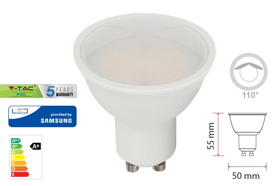 Lampada Led GU10 5W 220V 110 Gradi Bianco Caldo 3000K Diffusore Opale Chip Smd Samsung Garanzia 5 Anni SKU-201 - PZ
