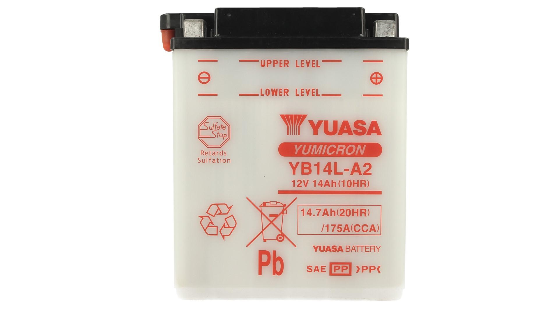 Batteria Moto YUASA YB14L-A2 Senza Acido 12V 14,7Ah 175A - PZ