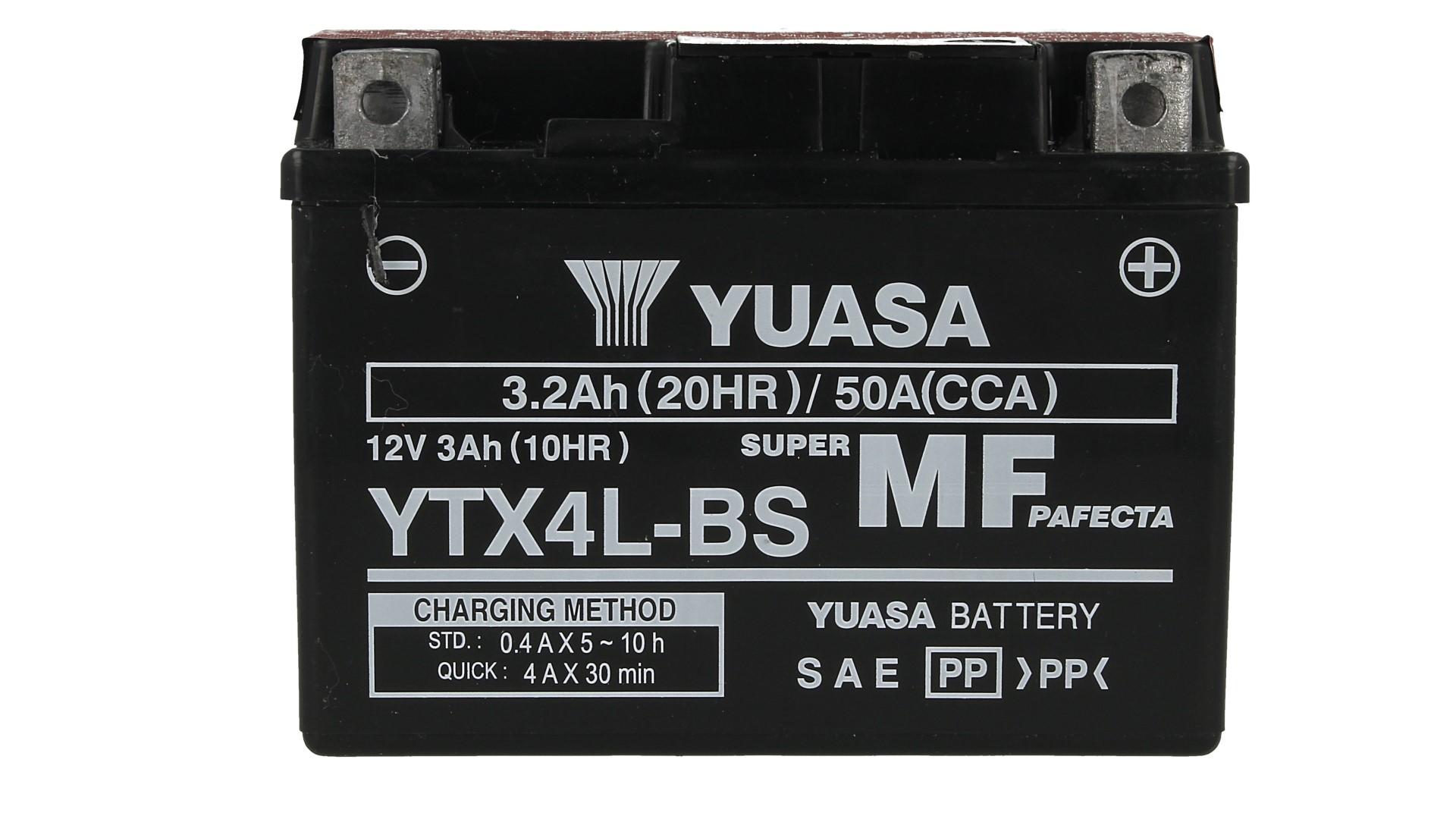 Batteria Moto YUASA YTX4L-BS Con Acido 12V 3,2Ah 50A - PZ