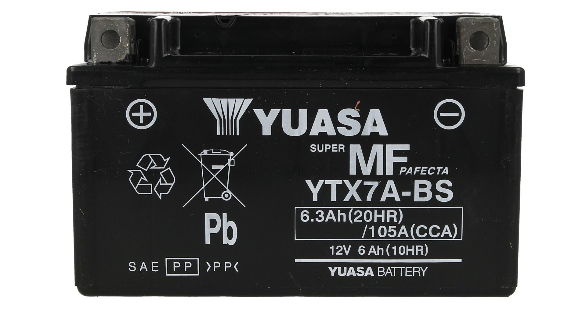 Batteria Moto YUASA YTX7A-BS Con Acido 12V 6,3Ah 105A - PZ