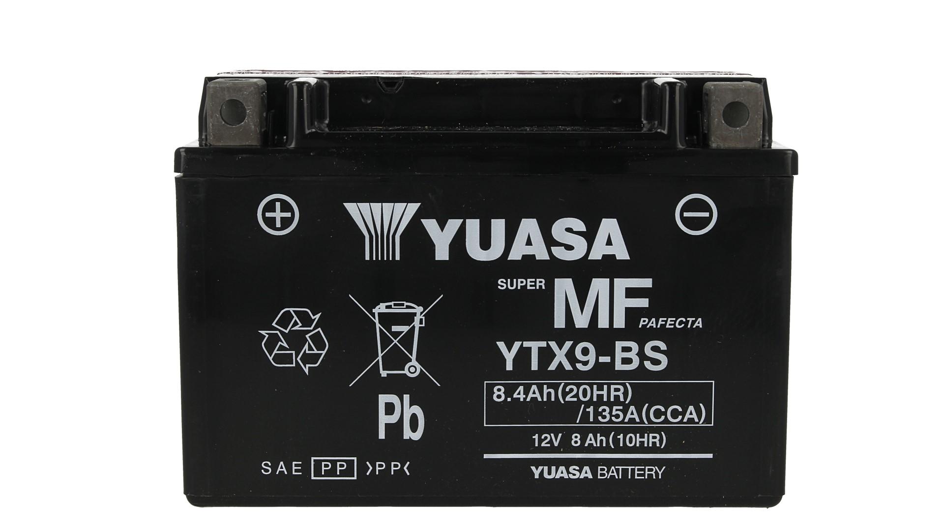 Batteria Moto YUASA YTX9-BS Con Acido 12V 8,4Ah 135A - PZ