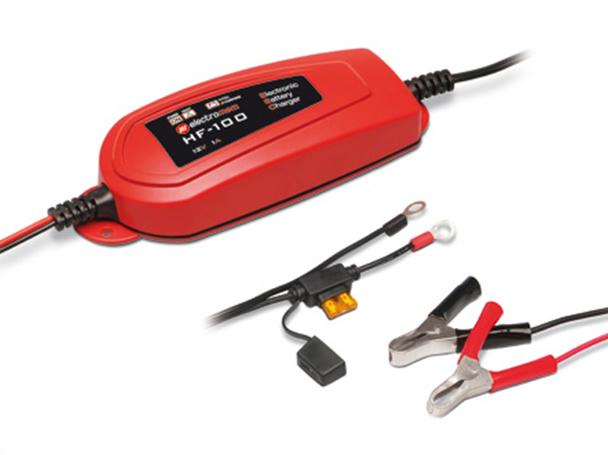 Caricabatterie e Mantenitore Di Carica Per Batterie Moto Scooter 12V 1A Electromem HF100 Made In Italy - KIT
