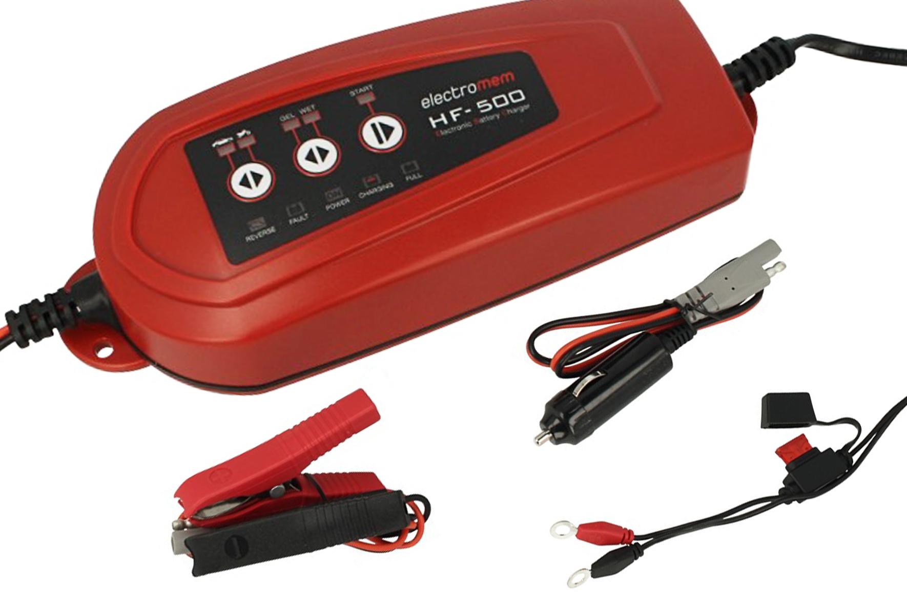 Caricabatterie e Mantenitore Di Carica Per Batterie Auto Moto Trattore Barca 12V 3,5A Electromem HF500 - KIT